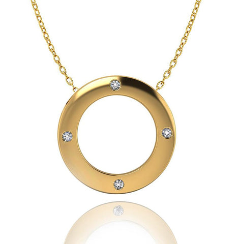 Love In A Jewel Circle Of Love Pendant - 9ct Yellow Gold with Diamonds