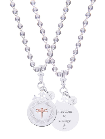 "Dragonfly Sterling Silver Declaration Pendant ""Freedom"""