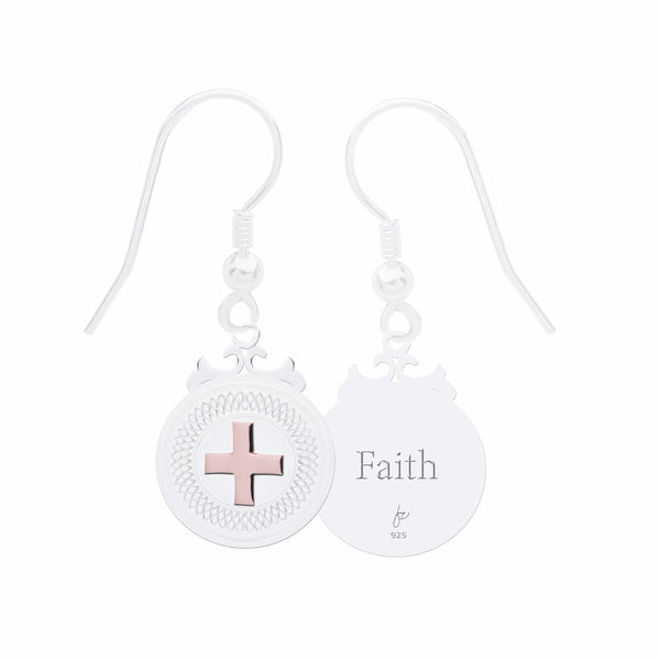 "Cross Sterling Silver Declaration Earrings ""Faith"""