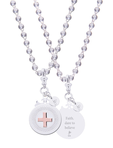 "Cross Sterling Silver Declaration Pendant ""Faith. Dare To Believe"""