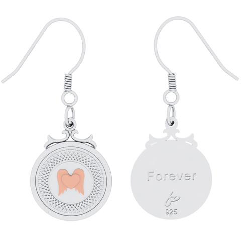"Winged Heart Sterling Silver Declaration Earrings ""Forever"""