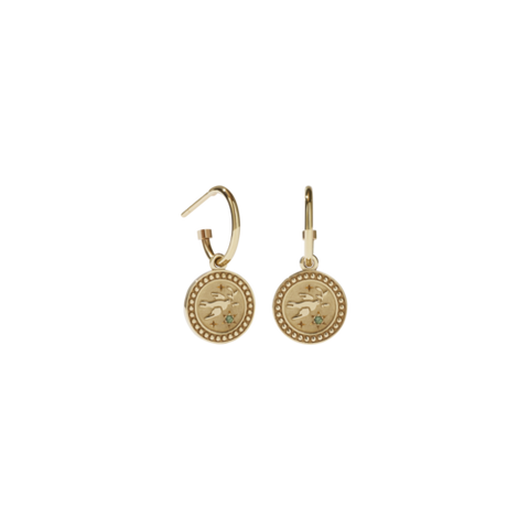 Meadowlark Amulet Peace Earrings - Gold Plate & Green Sapphire