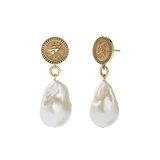 Meadowlark Amulet Pearl Drop Earrings - Gold Plate, Pink & Green Sapphire