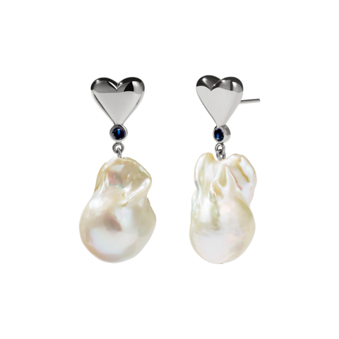 Meadowlark - Camille Pearl Earrings - Silver - Blue Sapphire