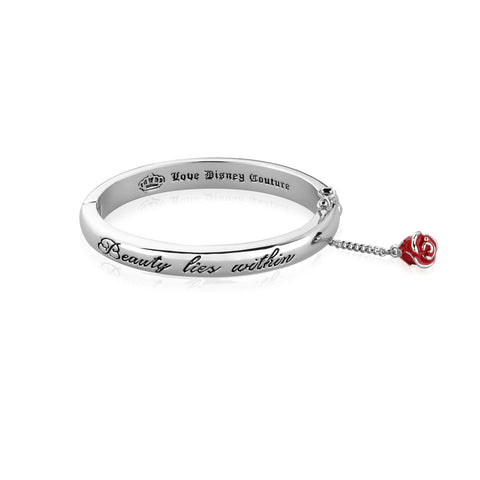 WHITE GOLD PLATED BEAUTY AND THE BEAST BEAUTY LIES WITHIN BANGLE