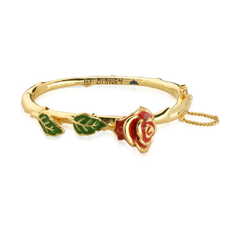 YELLOW GOLD PLATED BEAUTY AND THE BEAST ENCHANTED ROSE BANGLE