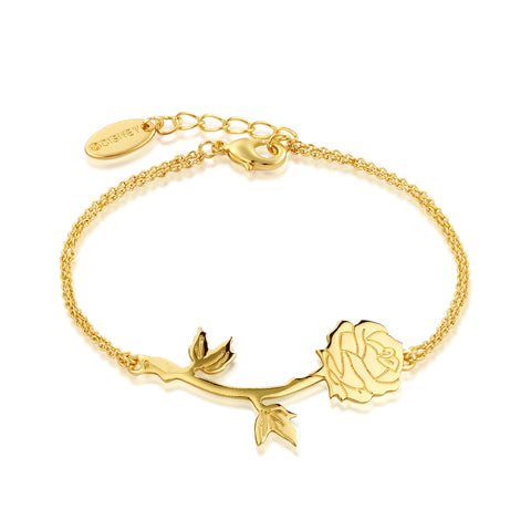 YELLOW GOLD PLATED BEAUTY AND THE BEAST ROSE BRACELET
