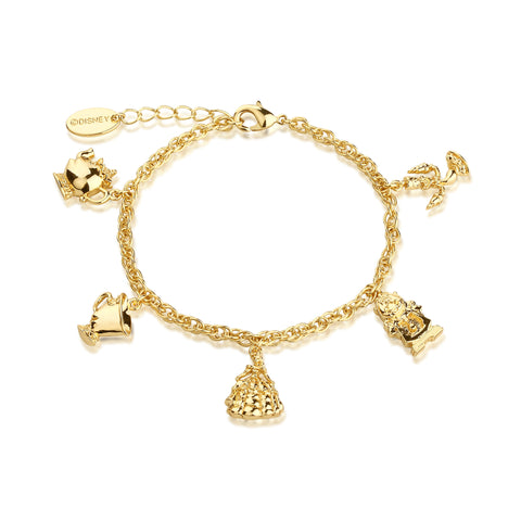 YELLOW GOLD PLATED BEAUTY AND THE BEAST CHARM BRACELET