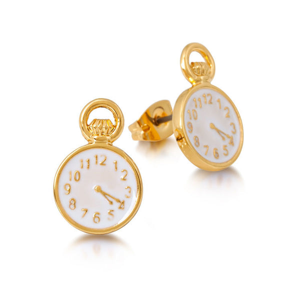 Alice In Wonderland Clock Stud Earrings