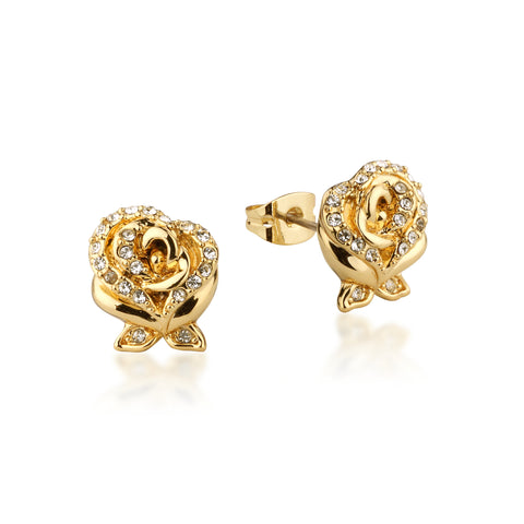 YELLOW GOLD PLATED BEAUTY AND THE BEAST ENCHANTED ROSE CYRSTAL STUD EARRINGS