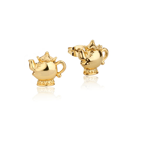 YELLOW GOLD PLATED BEAUTY AND THE BEAST MRS POTTSSTUD EARRINGS