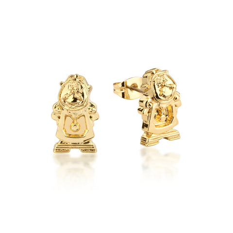 YELLOW GOLD PLATED BEAUTY AND THE BEAST COGSWORTHS STUD EARRINGS