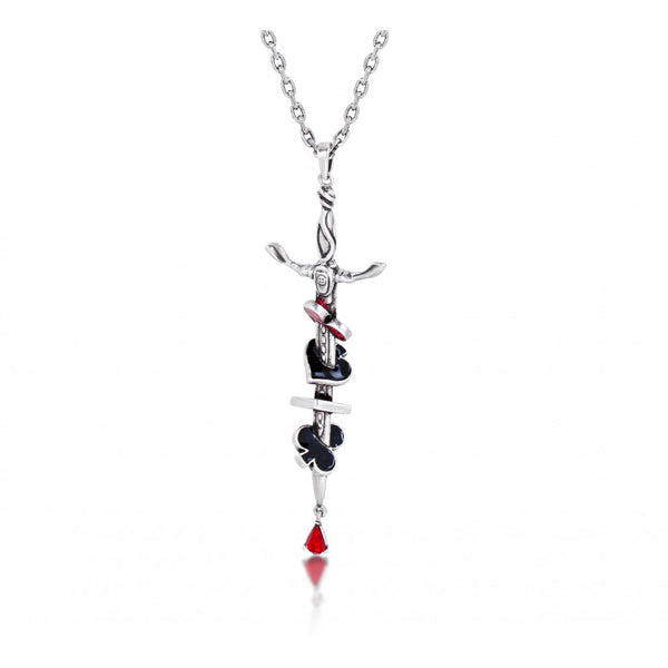 Disney Alice in Wonderland Red Queen Sword Necklace - White Gold Plated