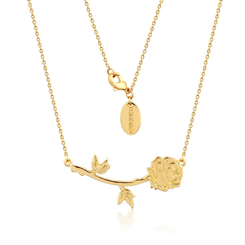 YELLOW GOLD PLATED BEAUTY AND THE BEAST ROSE NECKLACE
