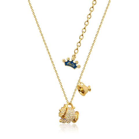 YELLOW GOLD PLATED BEAUTY AND THE BEAST MRS POTTS NECKLACE