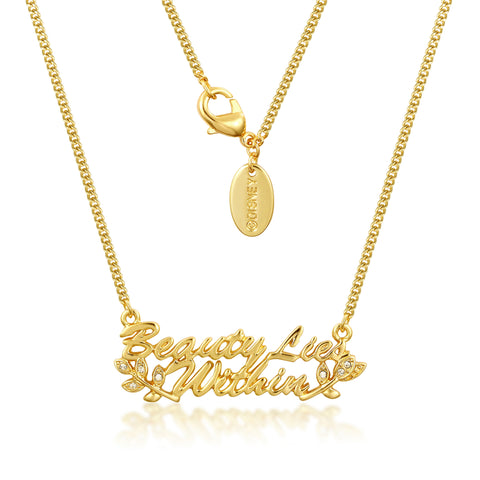 YELLOW GOLD PLATED BEAUTY AND THE BEAST BEAUTY LIES WITHIN NECKLACE