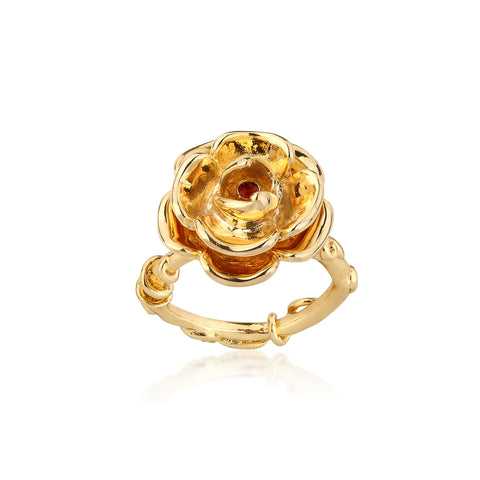 YELLOW GOLD PLATED BEAUTY AND THE BEAST ENCHANTED ROSE RING - SIZE 6