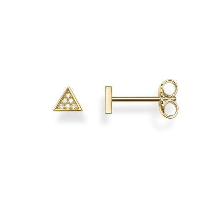 THOMAS SABO STERLING SILVER GOLD PLATED GLAM & SOUL DIAMOND TRIANGLE STUDS