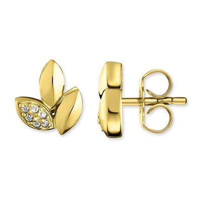 "THOMAS SABO STERLING SILVER GLAM & SOUL EAR STUDS ""LEAVES"" GOLD PLATED"
