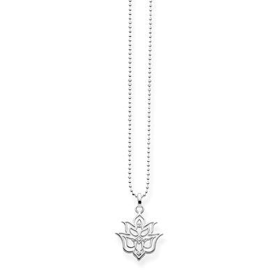 "THOMAS SABO STERLING SILVER GLAM & SOUL NECKLACE ""LOTUS FLOWER"" ORNAMENTATION"