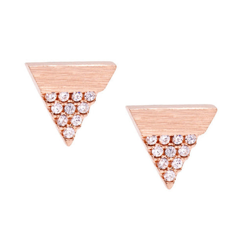 Brilliant Rose Gold Silver Earrings with Cubic Zirconia