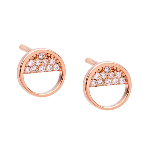 Wish Upon Rose Gold Silver Earrings with Cubic Zirconia
