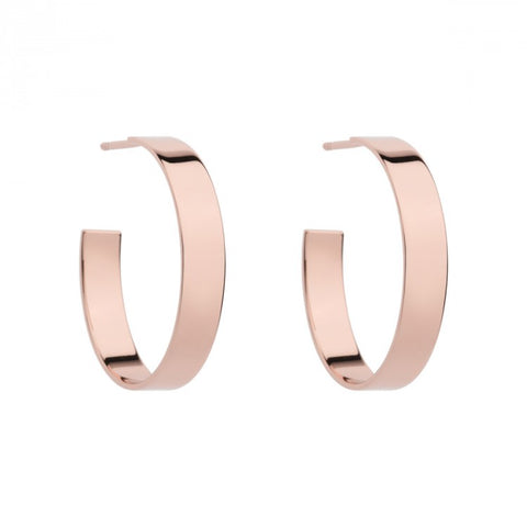 Ribbon (5mm) Hoop Stud Earring (Rose)
