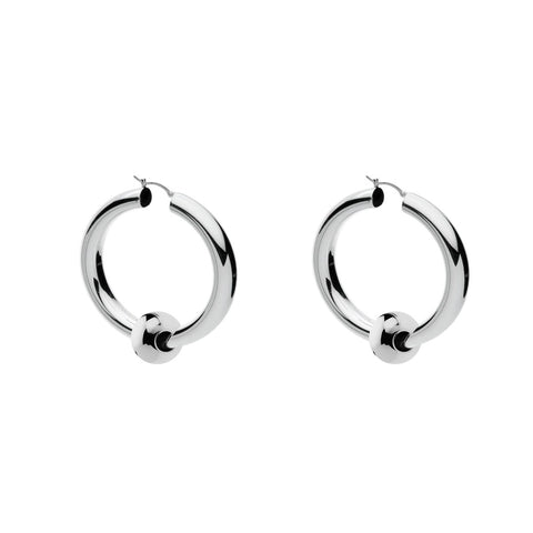 Najo - Toulah Hoop Earring - 2.5X15mm Round Silver Tube Hoop With Loose Bead