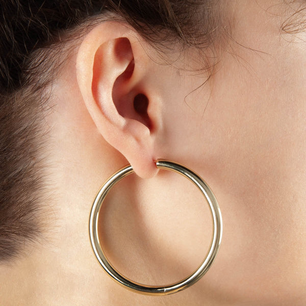Najo - Bodey Earring YG plated - 4X50mm Hinged YG Plated Tube Earrings