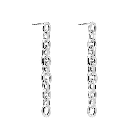 Najo - Barbara Earrings - &X52mm Silver Oval Link Chain Earrings