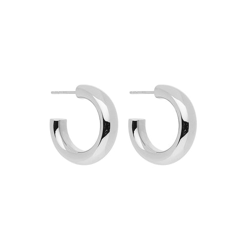 Najo - Mama Stud Hoops - 6X25mm Hollow Silver Hoops