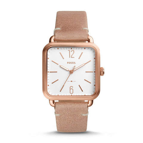 FOSSIL MICAH THREE-HAND SAND LEATHER WATCH ES4254