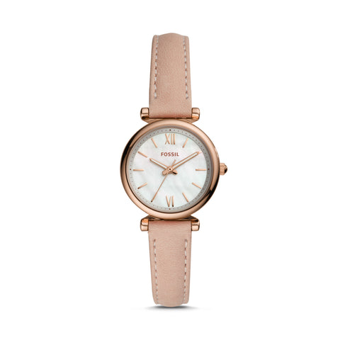 Fossil - Carlie Mini Three-Hand Blush Leather Watch