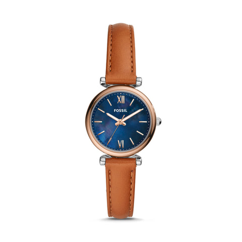 Fossil - Carlie Mini Three-Hand Tan Leather Watch