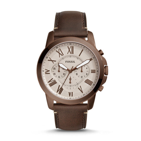 Fossil Machine Three Hand Date Brown Stainless Steel Watch FS5370