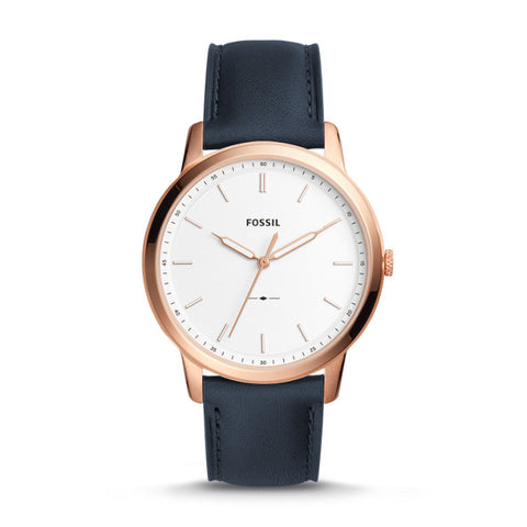 Fossil The Minimalist Slim Three-Hand Navy Leather Watch - FS5371