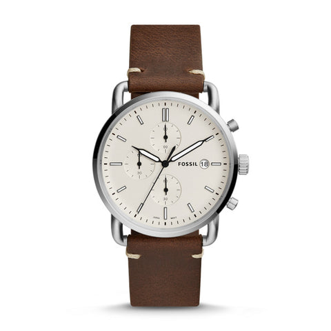 Fossil The Commuter Chronograph Brown Leather Watch - FS5402