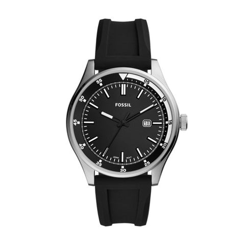 Fossil - Belmar Three-Hand Date Black Silicone Watch - FS5535