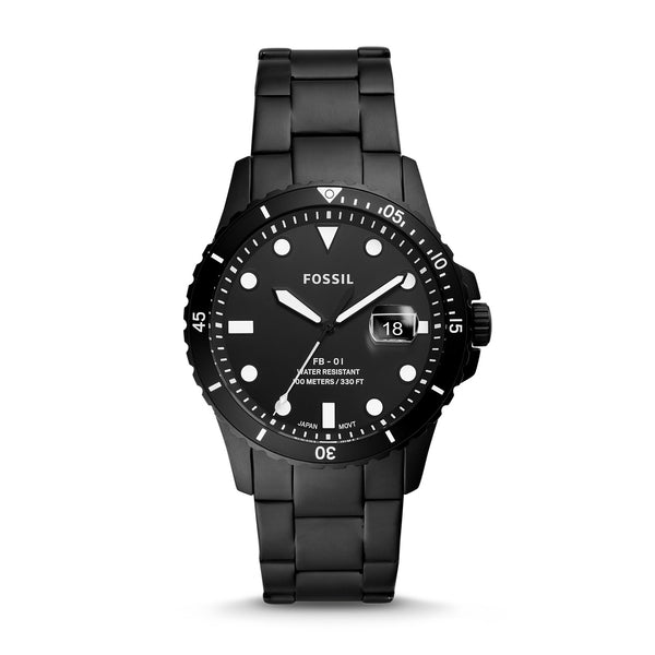 Fossil - FB-01 THREE-HAND DATE BLACK STAINLESS STEEL WATCH