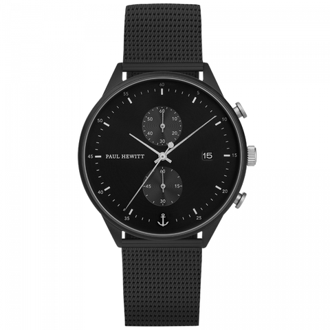 Paul Hewitt Watch Chrono Line Black Sunray IP Black/Stainless Steel Mesh Strap IP Black