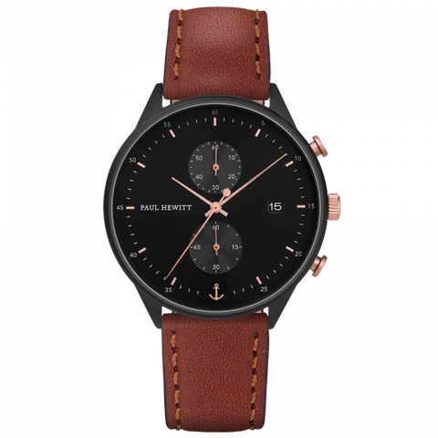 Paul Hewitt Watch Chrono Line Black Sunray IP Black/Rose Gold Leather Watch Strap Brown