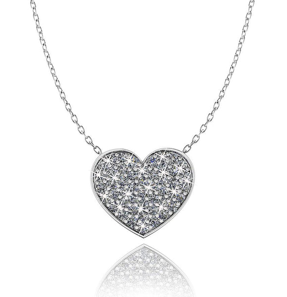 Love In A Jewel Heart Pendant - Silver With Crystals