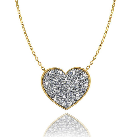 Love In A Jewel Heart Pendant - 9ct Yellow Gold with Diamonds