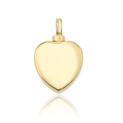 LIFE CYCLE CREMATION PENDANT - 14CT GOLD VERMEIL FLAT HEART
