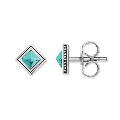 "THOMAS SABO STERLING SILVER GLAM & SOUL ""TURQUOISE AFRICA"" STUDS"