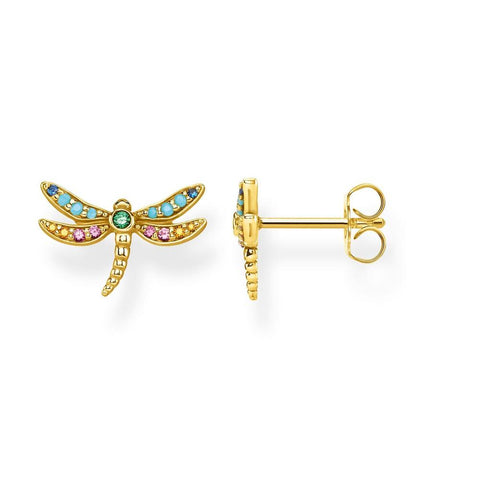 488e4a1af Thomas Sabo Paradise Dragonfly Stud Earrings Yellow Gold Plate - TH2051Y