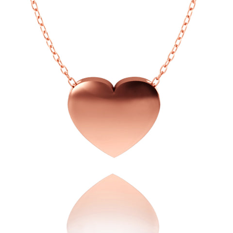 Love In A Jewel Heart Pendant - Rose Gold, Plain