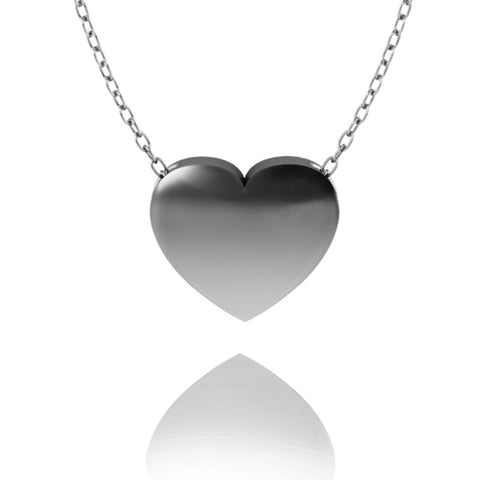 Love In A Jewel Heart Pendant - Silver, Plain