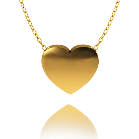Love In A Jewel Heart Pendant - 9ct Yellow Gold, Plain