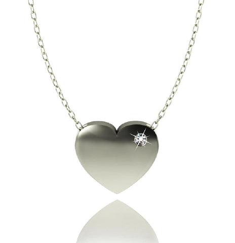 Love In A Jewel Heart Pendant - Silver With Crystal